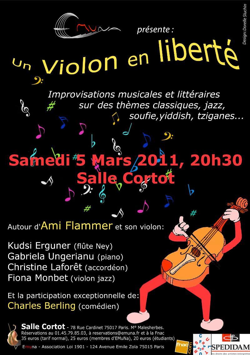 Flyer du concert Un violon en Liberté